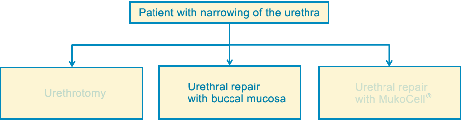 treatment: urethral repair with buccal mucosa
